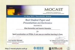 "VINEYARD's paper ""Spark acceleration using Pynq FPGA"" was awarded best student paper at MOCAST 2017"